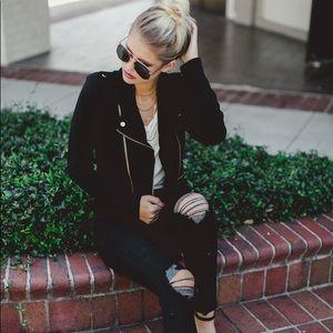 Jackets & Blazers - Black Stretch Knit Moto Jacket